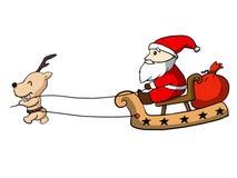 De Kerstman en herten Royalty-vrije Illustratie
