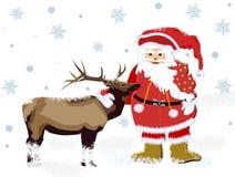 De Kerstman en herten Royalty-vrije Stock Afbeelding