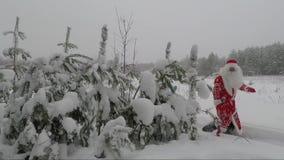 De kerstman en het Meisje van de kleindochtersneeuw komen uit het bos in de winter Nieuw jaar Kerstmis stock videobeelden