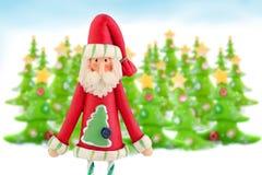 De Kerstman en Kerstbomen Stock Fotografie