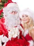 De Kerstman en Kerstmismeisje. Royalty-vrije Stock Fotografie