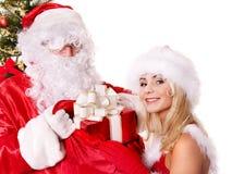 De Kerstman en Kerstmismeisje. Stock Afbeelding