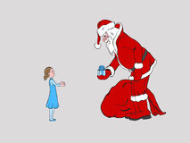 De Kerstman en kind Stock Afbeelding