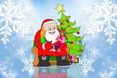 De Kerstman en kinderen op ijsachtergrond Royalty-vrije Stock Foto