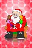 De Kerstman en kinderen op roze puntachtergrond Royalty-vrije Stock Foto's