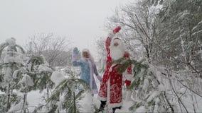 De kerstman en kleindochter gelukkig hun golven dienen de snow-covered bos Langzame motie in stock video