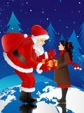 De Kerstman en meisje Stock Afbeeldingen