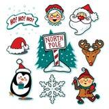 De Kerstman en Mevr. van de het noordenpool Claus-illustratiereeks Stock Foto