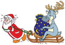 De Kerstman en Rendier Royalty-vrije Stock Afbeelding