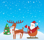 De Kerstman en Rudolf Royalty-vrije Illustratie