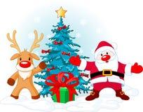 De Kerstman en Rudolph royalty-vrije illustratie