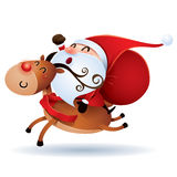 De Kerstman en Rudolph Royalty-vrije Stock Afbeeldingen