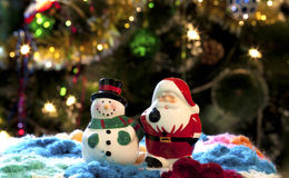 De Kerstman en Sneeuwman Royalty-vrije Stock Fotografie