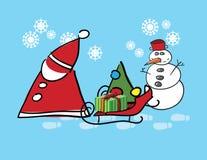 De Kerstman en sneeuwmens Stock Afbeelding