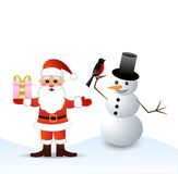 De Kerstman en sneeuwmens Royalty-vrije Stock Foto
