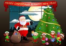 De Kerstman en zijn elf Royalty-vrije Stock Foto's