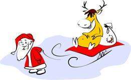 De Kerstman en zijn herten Stock Foto's