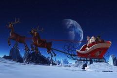 De Kerstman en zijn Rendieren Stock Afbeelding