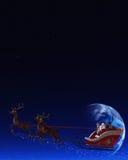 De Kerstman en zijn Rendieren Stock Foto