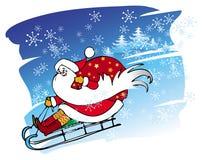 De kerstman gaat met een slee Royalty-vrije Stock Foto's