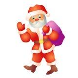 De kerstman gaat met een zakbeeldverhaal Stock Afbeelding
