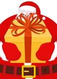 De kerstman geeft gift voor Kerstmis DOOS met BOOG Rood lint en yel Stock Afbeelding