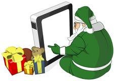 De Kerstman in Groen Kostuum gebruikt de Vector van PC van de Tablet stock illustratie
