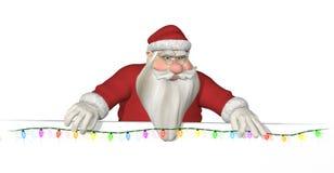 De kerstman hangt Lichten over een Grens vector illustratie