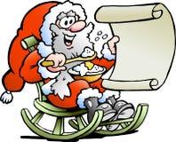 De Kerstman kijkt op zijn wenslijst Stock Afbeelding