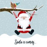 De kerstman komt royalty-vrije illustratie
