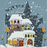 De Kerstman komt aan stad Stock Foto's