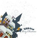 De Kerstman komt aan stad Royalty-vrije Stock Foto's