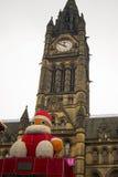 De kerstman komt aan stad Stock Afbeelding