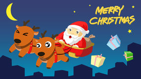 De Kerstman komt aan Stad Royalty-vrije Stock Afbeeldingen