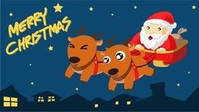 De Kerstman komt aan Stad Royalty-vrije Stock Foto