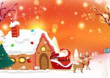 De kerstman komt aan stad, rendier, de dalende affiche c van de fantasiesneeuw royalty-vrije illustratie