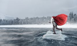 De kerstman komt Gemengde media Royalty-vrije Stock Afbeeldingen