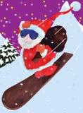 De Kerstman komt onderaan montain Royalty-vrije Stock Fotografie