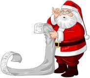 De Kerstman leest van de Lijst van Kerstmis Royalty-vrije Stock Fotografie