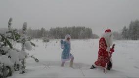 De kerstman loopt in het bos op een de winterdag Nieuw jaar stock video