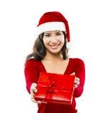 De kerstman maakt een presentatie stock foto's