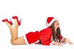 De kerstman maakt een presentatie Stock Afbeeldingen
