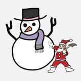 De kerstman maakt sneeuwman met schop Royalty-vrije Stock Fotografie