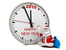 De Kerstman met de klok van het Nieuwjaar Stock Foto's