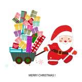 De Kerstman met de Doos van de Gift Gelukkig Nieuwjaar en de Vrolijke kaart van de Kerstmisgroet Stock Afbeeldingen
