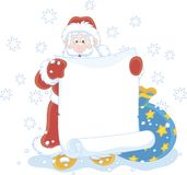 De Kerstman met een document rol Stock Illustratie