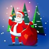 De Kerstman met een klok Royalty-vrije Stock Afbeelding