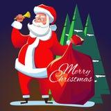 De Kerstman met een klok Stock Fotografie