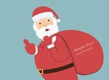 De Kerstman met een zak van giften voor exemplaarruimte Stock Afbeeldingen