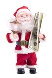 De Kerstman met geld Stock Foto's